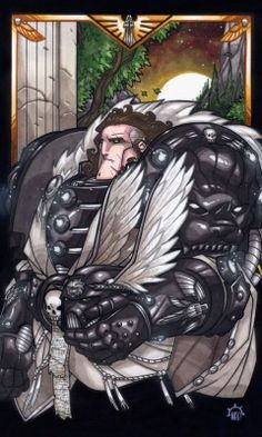 Lion ElJohnson, Primarch of the Dark Angels He is the Lion of Caliban.  His chapter is very interesting with many nuances, but the Lion is very difficult, for me at least, to get my head around.  He is supposed to be a tactical genius but he makes so many bad decisions that if he was a CEO of a company he would probably get a huge bonus.