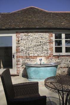 8c73d02b61e5 Verdigris Bateau bath with Copper Interior by William Holland Ltd