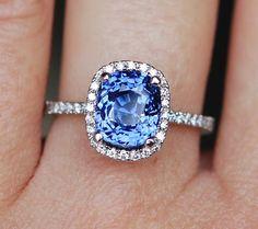 GIA Sapphire Engagement Ring 18k White Gold 3.1ct by EidelPrecious