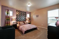 Bedroom in Model Home in Siena; This bedroom includes a full bathroom plus a walk-in closet! Saratoga Homes, Walk In Closet, Model Homes, Siena, Bathroom, Bed, Interior, Furniture, Home Decor