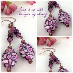 Purple Swarovski Mosaic Glass beaded Copper Dangle Handmade Earrings | jazzitupwithdesignsbynancy - Jewelry on ArtFire