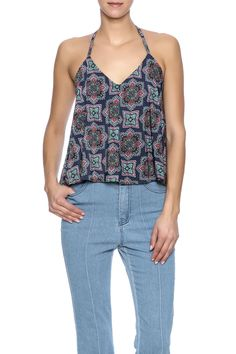 Multicolor halter top with a v-neckline and t-strap back.  Boho Halter Top by Lucy Love. Clothing - Tops - Blouses & Shirts Clothing - Tops - Sleeveless Missouri