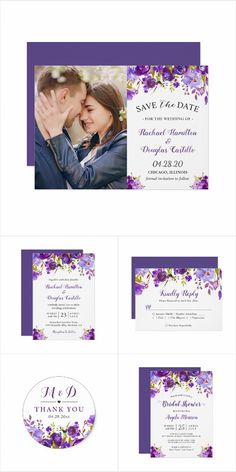 2018 Wedding Trend:Ultra Violet Purple Floral Invitation Suite