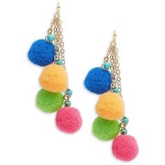 Panacea Pompom-Accented Drop Earrings ($18) ❤ liked on Polyvore featuring jewelry, earrings, multicolor, fish hook earrings, gold tone drop earrings, drop earrings, beaded drop earrings and pom pom drop earrings Fish Hook Jewelry, Fish Hook Earrings, Beaded Earrings, Beaded Jewelry, Plastic Earrings, Plastic Jewelry, Design Lab, Hippie Boho, Fashion Jewelry