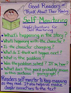 From WeAreTeachers  This week third-grade teacher Whitney Parlin is sharing her favorite reading and writing resources on Pinterest. We love this anchor chart on self-monitoring