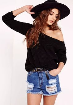 Throw over this super cool off the shoulder sweater this season. this quirky piece will add a layer of warmth to any outfit in your wardrobe. Looks super cute teamed with chic denim shorts, ankle cuff heels and a kickass fedora.