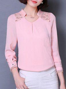 Fashionmia pink blouses and tops - Fashionmia.com