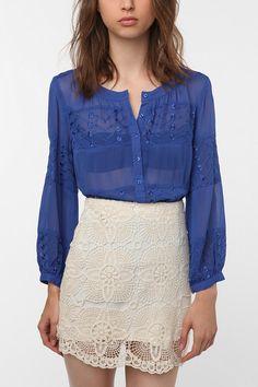 Royal blue chiffon shirt @ Urban Outfitters.