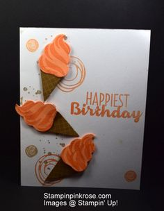 Stampin' Up! CAS Birthday card made with Cool Treats stamp set and designed by Demo Pamela Sadler. See more cards at stampinkrose.com #stampinkpinkrose #etsycardstrulyheart