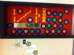 """Roll Over Beethoven...We're Ready to Rock"" Classroom Door decor inspired by 1950s music to kick off spring testing."