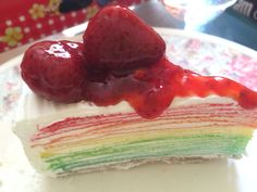 Yummy crepe cake with sweet strawberry.