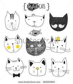 Cats, set of cute doodle. Sketch character handmade to Print T-shirts. Kids animals. Funny stylish muzzle isolated Pets