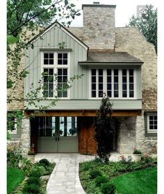 Facade color inspiration- green, rich wood color, stone ❤️