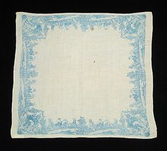 Handkerchief Date: 1800–1810 Culture: French Medium: Linen Credit Line: Brooklyn Museum Costume Collection at The Metropolitan Museum of Art, Gift of the Brooklyn Museum, 2009; Gift of Frank Smith, 1961 Accession Number: 2009.300.5261