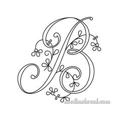 Monograma para bordados à mão - B - Floral