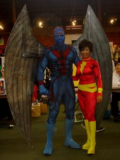 Archangel and Mary Marvel cosplay. Impressive wingspan.