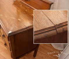 Before the start I have to clarify some facts. First of all: this is not a tutorial about repairing a table top; it is about a top of a dresser. Second: this… Diy Furniture Repair, Diy Furniture Renovation, Chalk Paint Furniture, Furniture Makeover, Wood Furniture, Restoring Furniture, Modern Furniture, Wood End Tables, Wood Table