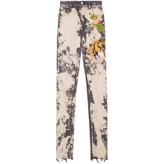 Gucci Gucci Embroidered Stretch Denim Skinny Pant ($1,300) ❤ liked on Polyvore featuring pants, capris, multicolour, dark grey pants, five pocket pants, floral print pants, floral trousers and flower pants