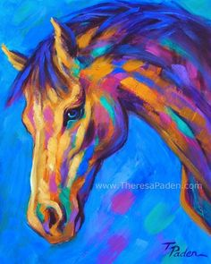 Horse art, Equine art, for sale.: Bright Contemporary Horse Art by Theresa Paden Abstract Horse Painting, Watercolor Horse, Horse Paintings, Horse Artwork, Colorful Animal Paintings, Colorful Animals, Pastel Paintings, Painted Horses, Art Et Illustration