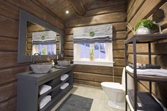 Cabin Homes, Log Homes, Cabin Porches, Building A Cabin, Cabin Bathrooms, Mountain Cottage, Basement Inspiration, Dere, Cottage Interiors