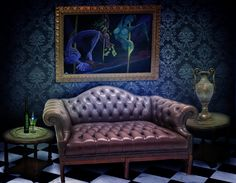 Here's the set for the Ultra VIP Room at the burlesque club where the pleasure doll work. This is where Venus De Milo entertains her client Absinthe a wealthy gentleman and falls under his spell of sensual intoxication.