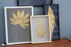 DIY goldene Blätter einrahmen Wall Art Crafts, Diy Wall Art, Diy Art, Wall Art Decor, Bild Gold, Diy Mirror Decor, Old Picture Frames, Picture Wall, Creative Wall Decor