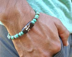 Men's Spiritual Healing Protection Love Bracelet with Semi Precious Faceted Moss Opal, Carved Dragonfly Bone, Antique Copper, Hippie Man