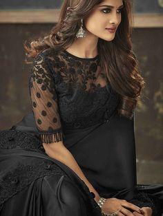 Black Blouse Designs, Blouse Neck Designs, Pakistani Dress Design, Pakistani Dresses, Indian Dresses, Indian Outfits, Black Saree, Green Saree, Indian Beauty Saree