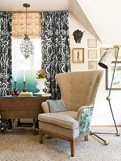 Hang Heavier Drapes for Fall & Winter.Heavy drapes keep out drafts and lend an opulence to the room, especially if you let them pool an inch or so on the ground. Switch out summer sheers for pattern drapes with a heavier hand. Sunroom Window Treatments, Drapes And Blinds, Wall Curtains, Living Spaces, Living Rooms, Tv Rooms, Family Rooms, Room Planning, Better Homes And Gardens