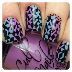 Gradient using Cult Nails Love at First Sight and Manipulative stamped using @uberchicbeauty ÜC plate 2-02 in Bundle Monster Black Noir. Top coat @glistenandglow1 #hkgirltopcoat