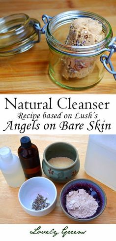 Recipe for a gentle and natural soap-less facial cleanser based on Lush's popular 'Angels on Bare Skin' - it's easy to make and cleans your skin without overdrying! #beauty