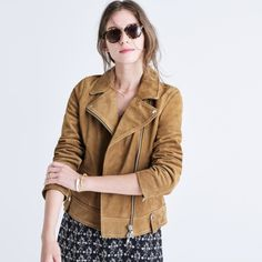 Leather and suede biker jackets in warm tones of camel deserve your wallet's full attention. | 12 Trendy Winter Coats Styles You'll Actually Wear