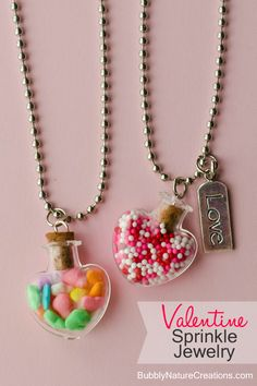 DIY- Heart Jewelry~ Use your favorite sprinkle combo to make this cute necklace! Candy Jewelry, Kids Jewelry, Heart Jewelry, Cute Jewelry, Jewelry Crafts, Jewelry Making, Heart Necklaces, Bubble Necklaces, Resin Jewelry