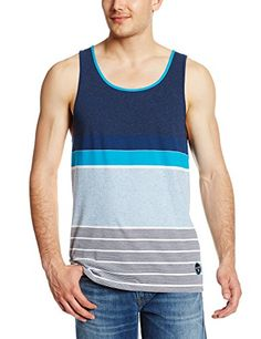 Billabong Men's Spinner Tank Top, Eclipse, Large. The spinner tank is an engineered yarn dye tank top. Billabong woven patch on bottom left front panel when worn. Engineered yarn dye vintage knit tank top with billabong patch label on left front panel near hem when worn.