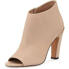 Vince Sierra-2 Leather Peep-Toe Bootie ($480) ❤ liked on Polyvore featuring shoes, boots, ankle booties, nude, open toe ankle boots, peep toe bootie, leather peep toe booties, high heel boots and leather boots