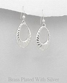 Sterling Silver over Brass Medium Shrimp Style Dangle Earrings