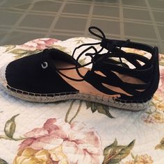 Espadrilles Brand New. Size 8 1/2. Runs small. New black suede espadrilles. Never worn. Bamboo Shoes Espadrilles