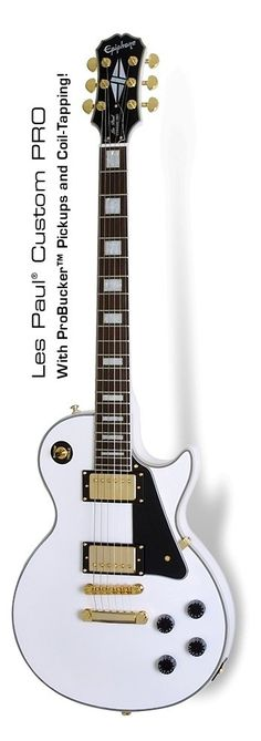 Epiphone Les Paul Custom Pro Electric Guitar, Alpine White #epiphone #guitar