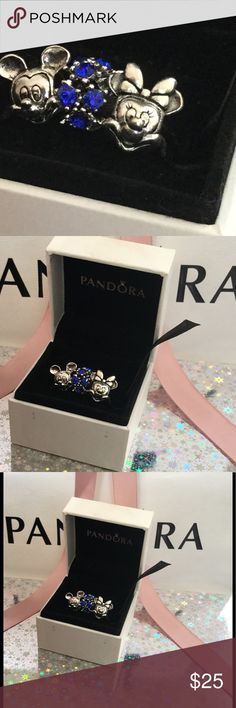Pandora charms set of 3 Mickey and Minnie Brand new Disney Mickey and Minnie  Pandora Charms,    Brand new    By PANDORA Jewelry    PANDORA Disney Collection    Disney Mickey charm in sterling silver    Mickey Mouse, the beloved cartoon character, is showcased in this detailed Mickey-shaped charm - a reminder of the fanciful world of laughter, goodwill and happiness that he represents. Pandora Jewelry Bracelets