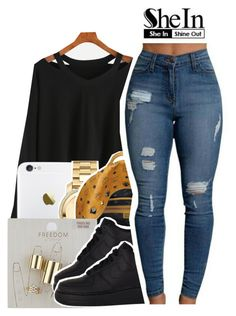 """""""Shein"""" by isabellacarolina161 ❤ liked on Polyvore featuring Movado, MCM, Topshop and NIKE"""