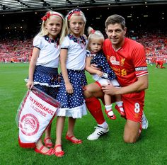Liverpool-v-Olympiacos-Steven-Gerrard-Testimonial. Together with his three daughters Lilly, Lexie, and Lourdes Steven Gerrard Liverpool, Alex Gerrard, Liverpool Football Club, Liverpool Fc, Stevie G, France Football, Captain Fantastic, European Soccer, You'll Never Walk Alone