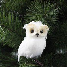 RAZ Flat White Feathered Owl Christmas Decoration White Made of