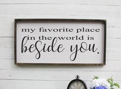 Excited to share the latest addition to my shop: My Favorite Place In The World Is Beside You Above Bed Over The Bed Farmhouse Decor Large Wall Art Rustic Wall Decor Wood Sign Wooden Bedroom Wall Decor Above Bed, Bedding Master Bedroom, Bed Wall, Bedroom Ideas, Bedroom Signs, Above Headboard Decor, Bedroom Decor, Upstairs Bedroom, Master Bedrooms