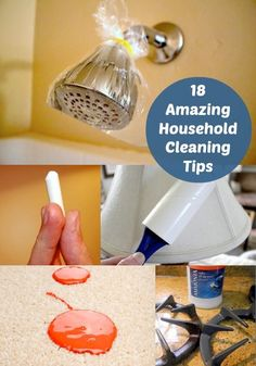 18 Tips: hard water scum, grease stains, paint on carpet, stove burners, granite counters, scratched dishes, dusty tv's