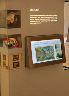 The Interactive Columns allows visitors to peruse six stories presented on touchscreen displays. Each touchscreen presents a different theme investigating New York's exceptional role in American History. Mounted alongside the touchscreens are key objects that relate to the topics under discussion.