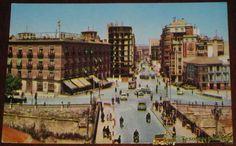 ANTIGUA FOTO POSTAL DE MURCIA - HOTEL REINA VICTORIA Y GRAN VIA JOSE ANTONIO - NO CIRCULADA - ESCRITA - ED. L.A.C.