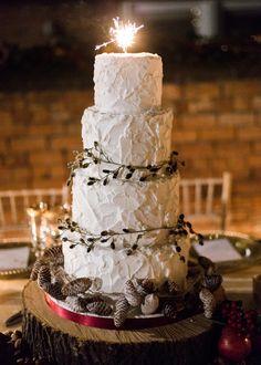 Sparkler Rustic Christmas Wedding Cake Idea