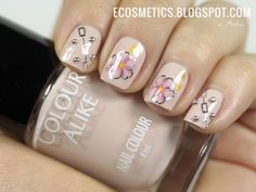 Pink Floral Water Decals & Silver Ball Nail http://ecosmetics.blogspot.com/2014/08/kwiaty-kwiatuszki-i-kuleczki-water.html