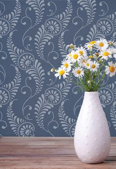 Bohemian Chic Wall Decor - Painted Walls with Feathered Damask Wall Stencils - Royal Design Studio