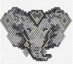 Grille_tissage_brick_stitch_motif_tete_elephant_perles_Miyuki_Delicas_11 Bead Crochet Patterns, Seed Bead Patterns, Peyote Patterns, Loom Patterns, Jewelry Patterns, Beading Patterns, Elephant Pattern, Elephant Design, Loom Bands